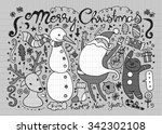 hand drawn christmas characters ... | Shutterstock .eps vector #342302108