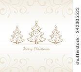 golden christmas trees | Shutterstock .eps vector #342305522