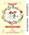 hand drawn on the wedding... | Shutterstock .eps vector #342306872