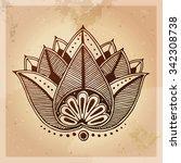 indian ethnic henna tattoo... | Shutterstock .eps vector #342308738