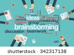 brainstorming word tag cloud... | Shutterstock .eps vector #342317138