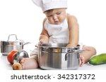 funny adorable baby boy chef...