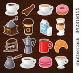 colorful coffee vector stickers ... | Shutterstock .eps vector #342318155