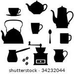 kitchen items   teapots  coffee ... | Shutterstock .eps vector #34232044