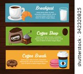 colorful coffee vector banners. ... | Shutterstock .eps vector #342320825