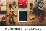 desk view from above with... | Shutterstock . vector #342324392