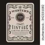Stock vector western frame border vintage label hand drawn engraving retro antique vector illustration 342331082