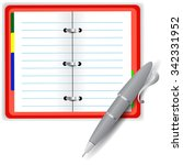 vector open notebook and grey... | Shutterstock .eps vector #342331952