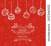 christmas card with christmas... | Shutterstock .eps vector #342346502