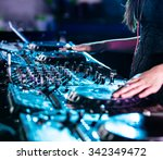 dj mixes the track in the... | Shutterstock . vector #342349472