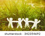 wooden little men holding hands ... | Shutterstock . vector #342354692