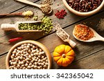 bowls and spoons of various... | Shutterstock . vector #342365042