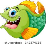 cartoon of green piranha | Shutterstock . vector #342374198