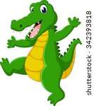 cute crocodile cartoon of... | Shutterstock . vector #342393818