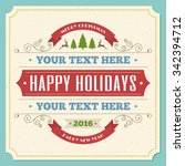 merry christmas greeting card... | Shutterstock .eps vector #342394712