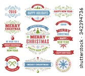 merry christmas color labels... | Shutterstock .eps vector #342394736