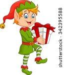 happy green elf boy holding... | Shutterstock .eps vector #342395588