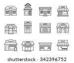 shops and stores building icons ... | Shutterstock .eps vector #342396752