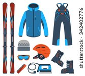 ski equipment kit clothes... | Shutterstock .eps vector #342402776