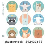 animal set of colorful portrait ... | Shutterstock .eps vector #342431696