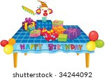 illustration of  a gift boxes... | Shutterstock .eps vector #34244092