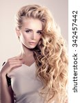 model with long hair blonde... | Shutterstock . vector #342457442