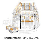 street cafe in old city. retro... | Shutterstock .eps vector #342462296