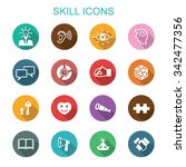 skill long shadow icons  flat... | Shutterstock .eps vector #342477356