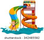 man sliding down the water... | Shutterstock .eps vector #342485582