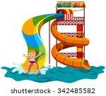 man sliding down the water... | Shutterstock .eps vector #342485582