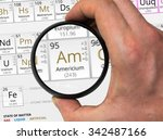 Small photo of Americium symbol - Am. Element of the periodic table zoomed with magnifying glass