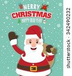 vintage christmas poster design ... | Shutterstock .eps vector #342490232