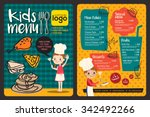 cute colorful kids meal menu... | Shutterstock .eps vector #342492266