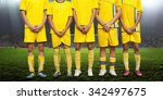 the players formed a wall to... | Shutterstock . vector #342497675