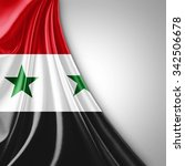 syria flag of silk  with... | Shutterstock . vector #342506678