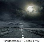 asphalt road night bright... | Shutterstock . vector #342511742