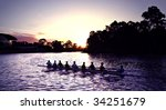 Rowers At Sunset On Adelaide's...