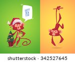 two funny monkeys. monkey with... | Shutterstock .eps vector #342527645