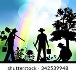 silhouette of farmer. | Shutterstock . vector #342539948