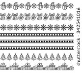 christmas borders with snowman  ... | Shutterstock .eps vector #342541016