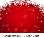 red background with snowflake...   Shutterstock .eps vector #342542285