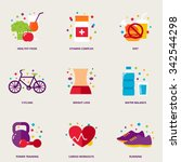 diet colorful vector icons set  ... | Shutterstock .eps vector #342544298