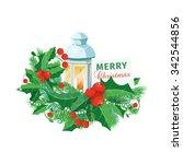 christmas card with mistletoe.... | Shutterstock .eps vector #342544856
