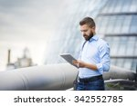 handsome young man with tablet... | Shutterstock . vector #342552785