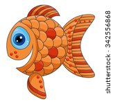 smiling orange fish  vector... | Shutterstock .eps vector #342556868