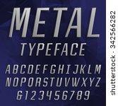 chrome alphabet font. type... | Shutterstock .eps vector #342566282