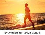 runner athlete running at... | Shutterstock . vector #342566876