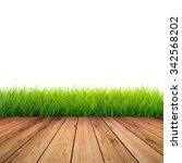 3d rendered wooden footpath... | Shutterstock . vector #342568202