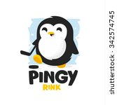 Stock vector modern professional penguin logo for a kids ice rink 342574745