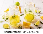 homemade lemonade with lime ... | Shutterstock . vector #342576878